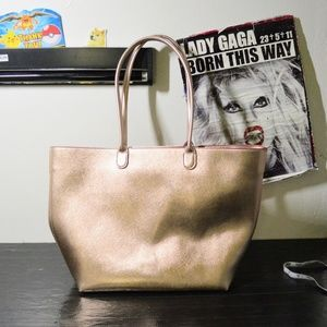 Rose gold metallic shimmer champagne shopper tote
